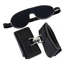 Белезници за секс и маска комплект Bad Kitty Wristcuffs Eyemask