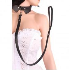 Секси нашийник с каишка Real Leather Necktie Cuff