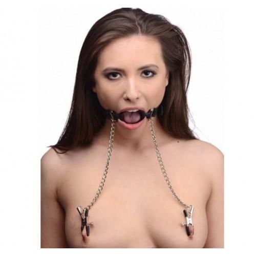 Фетиш аксесоар Ринг за уста с щипки за зърна O-ring Gag with Nipple Clamps Pipedream