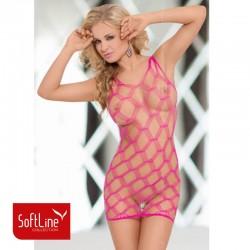 Дамска мрежеста рокля Кейти Розов цвят | Размер S-L