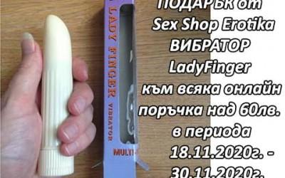 Вибратор ПОДАРЪК от Секс Шоп Еротика за онлайн поръчки над 60лв.