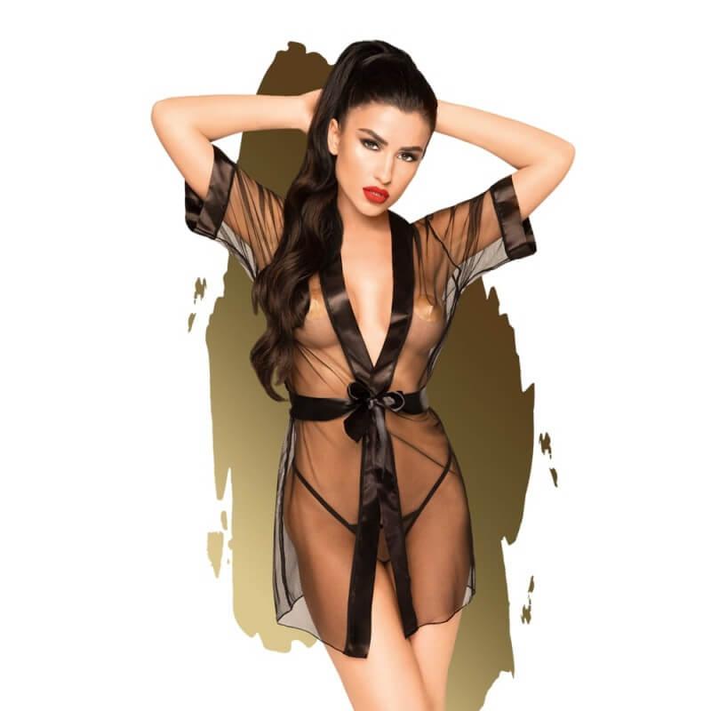Секси прозрачен Халат Black Midnight Mirage Penthouse Lingerie код: 2225 цена с дискретна доставка и опаковка от Секс Шоп Еротика