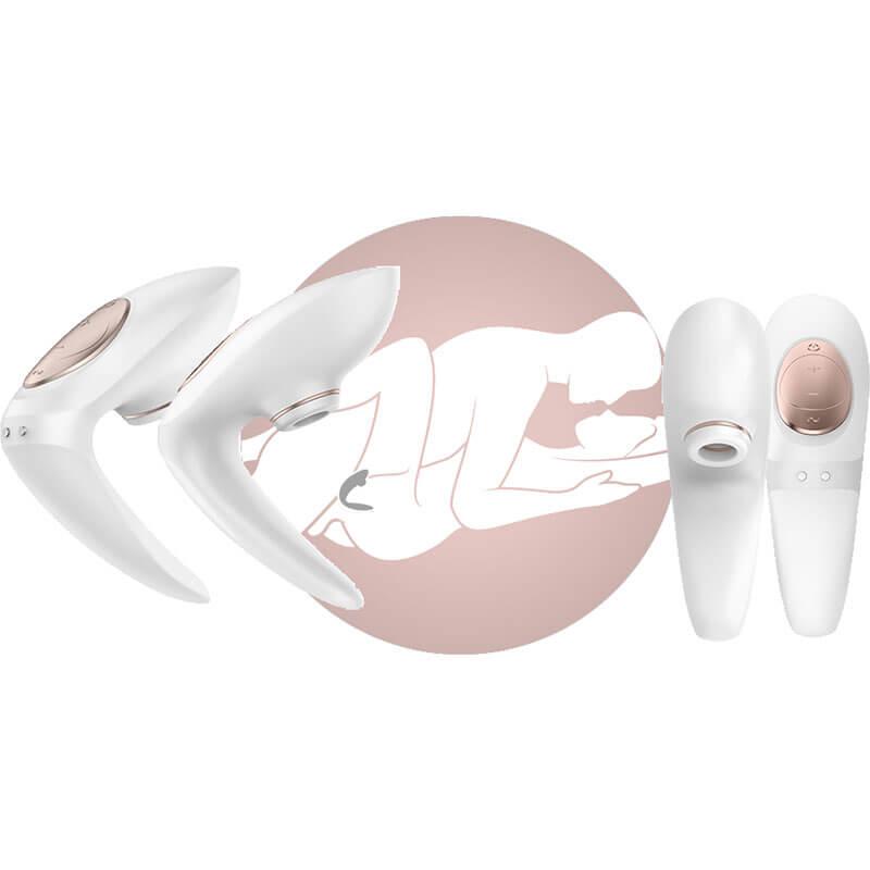 Вибратор за двойки Pro 4 Couples Satisfyer с въздушна клиторна пулсация за жената и уплътняване за по-тясна вагина за пениса на мъжа код: 2046 с дискретна доставка